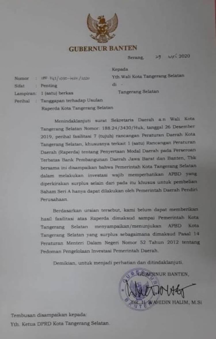Dua Hal, Penyertaan Modal Pemkot Tangsel Ke Bank BJB Disoal Pemprov Banten